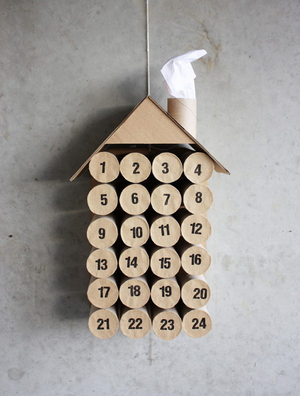DIY Toilet Paper Roll House Christmas Calendar.