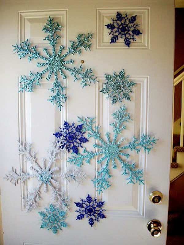 Dollar Store Snowflake Door Decoration.