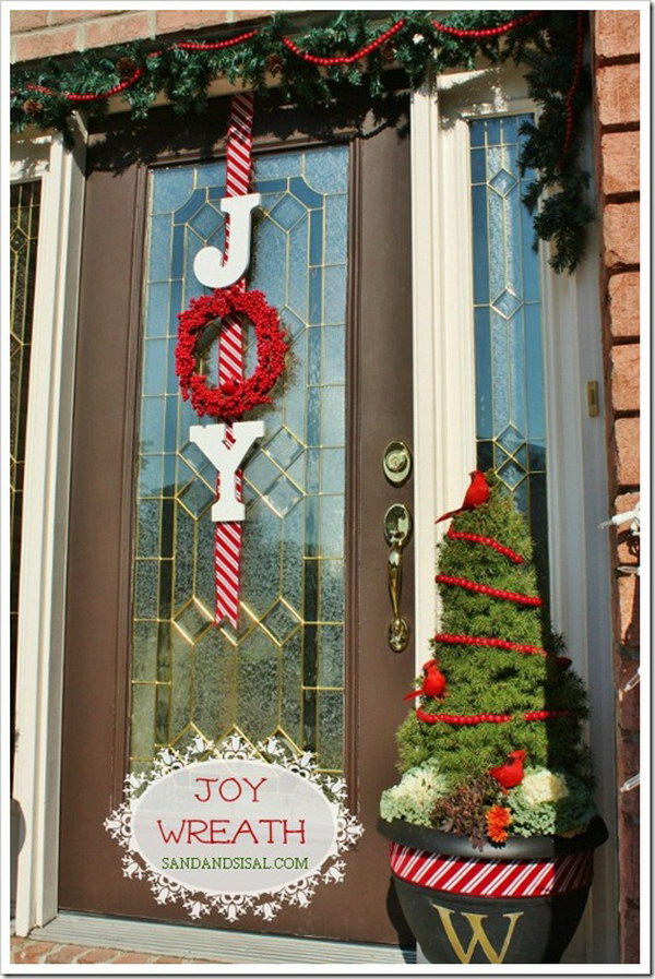 DIY Christmas Door Decoration With Ornaments And String Lights