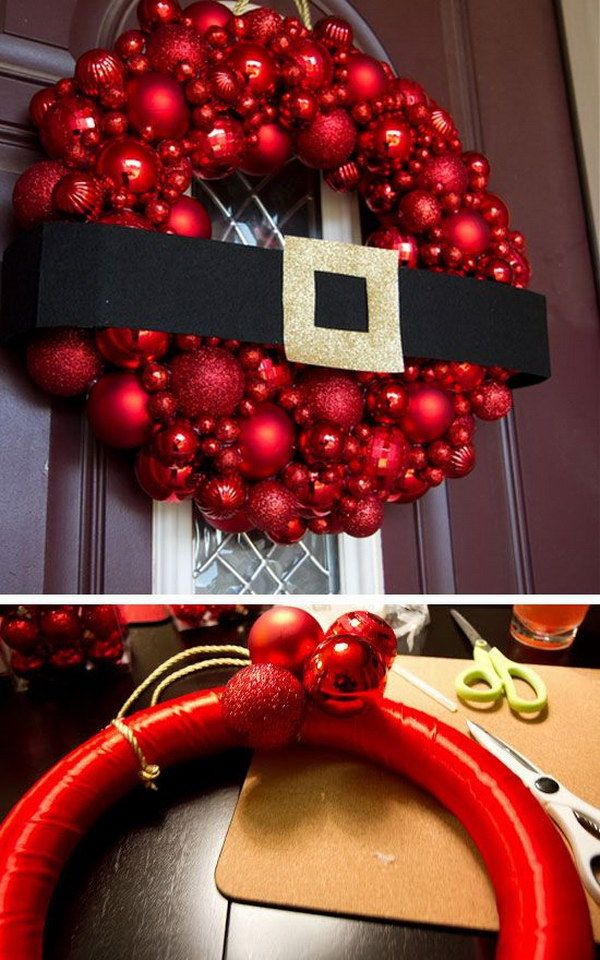 20 creative diy christmas door decoration ideas noted list for Outdoor merry christmas ornaments