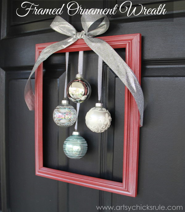 DIY Holiday Framed Ornament Wreath.