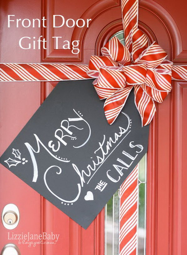20 creative diy christmas door decoration ideas noted list for Idea for door gift