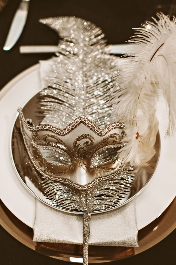 A Mask at Each Table for a New Year Party Decoration