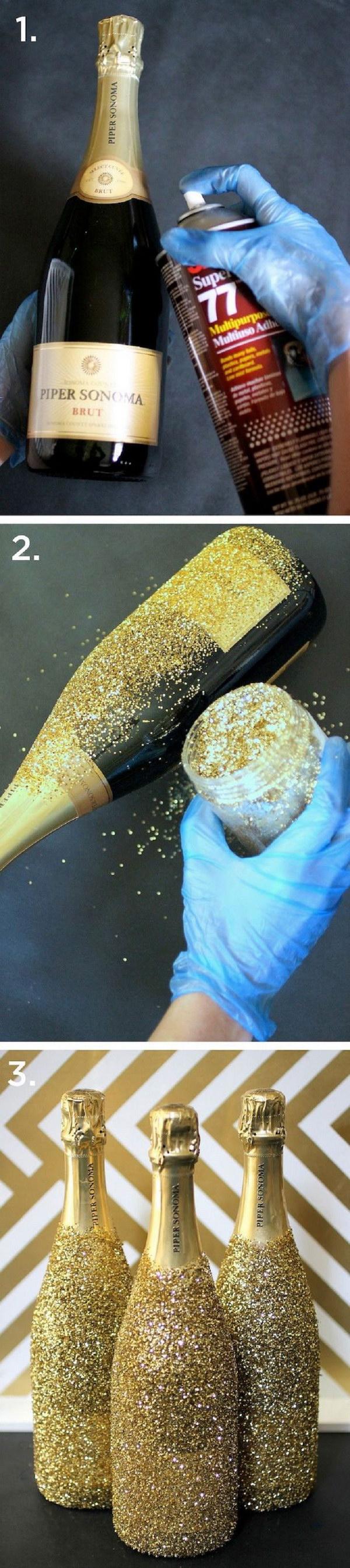 DIY Glitter Champagne Bottles