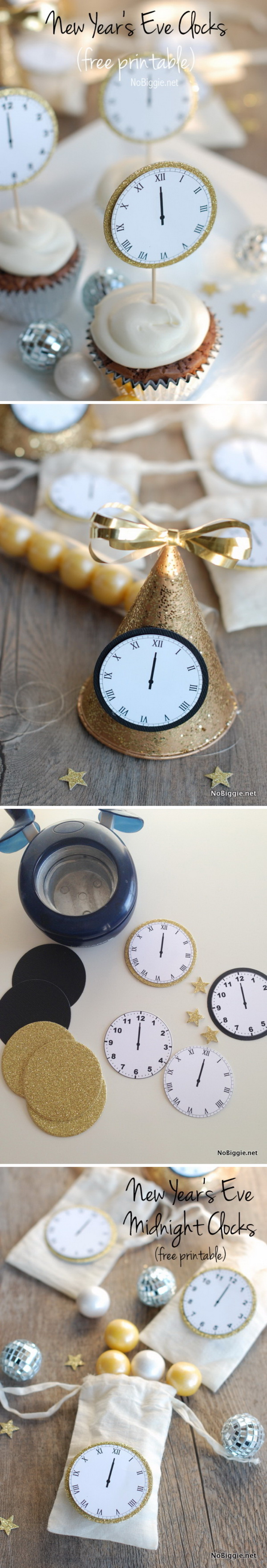 New Year's Eve Midnight Clock Free Printable