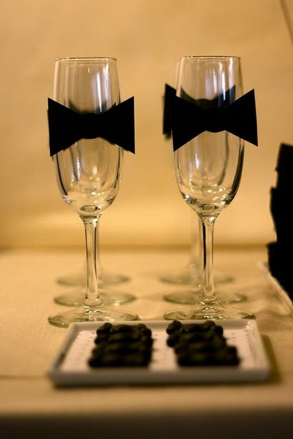 Black Bow Tie Wine Glasses