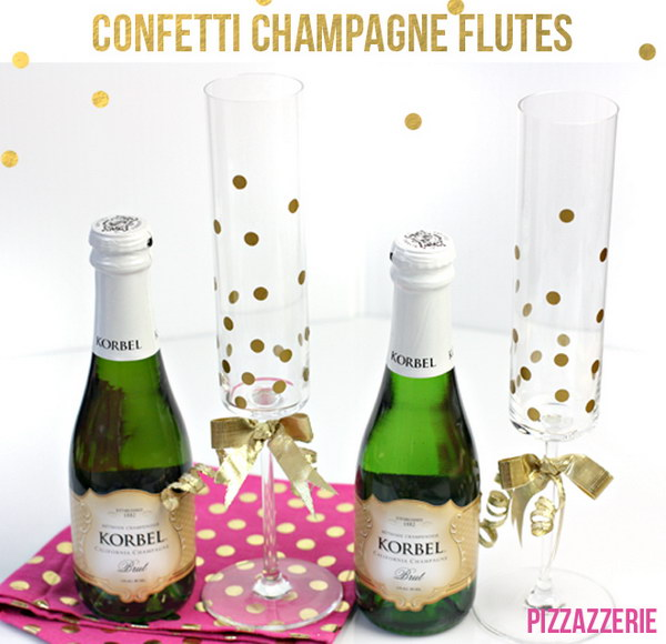 DIY Gold Confetti Champagne Glasses