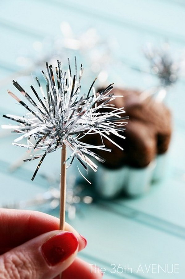 DIY Tinsel Sparklers  Toothpick Toppers