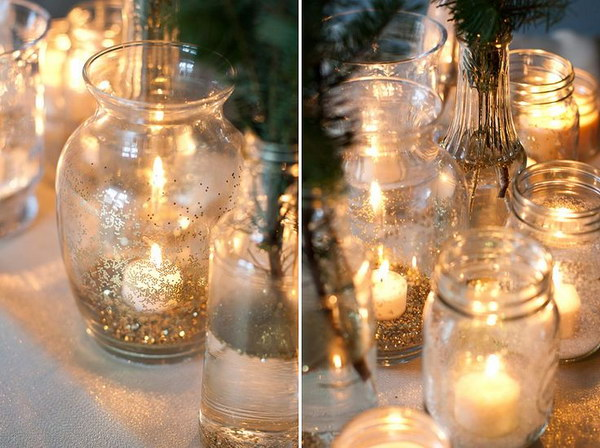 DIY Gold Glitter Glass Vases