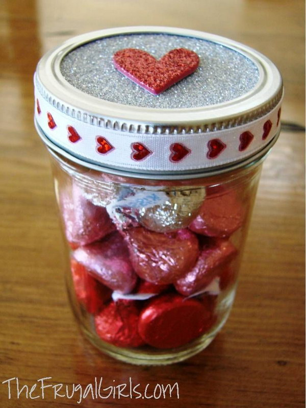 Hershey's Kisses in the Jar with Glitter Heart on Top
