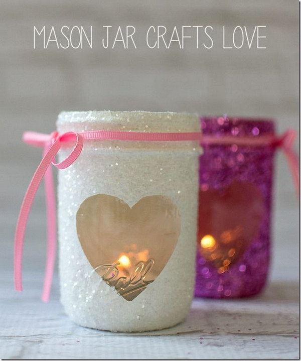 Glittered Valentine's Day  Heart Mason Jar