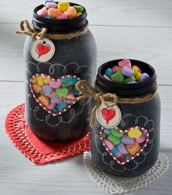 Valentine's Gift in Chalkboard Spray Paint Mason Jar