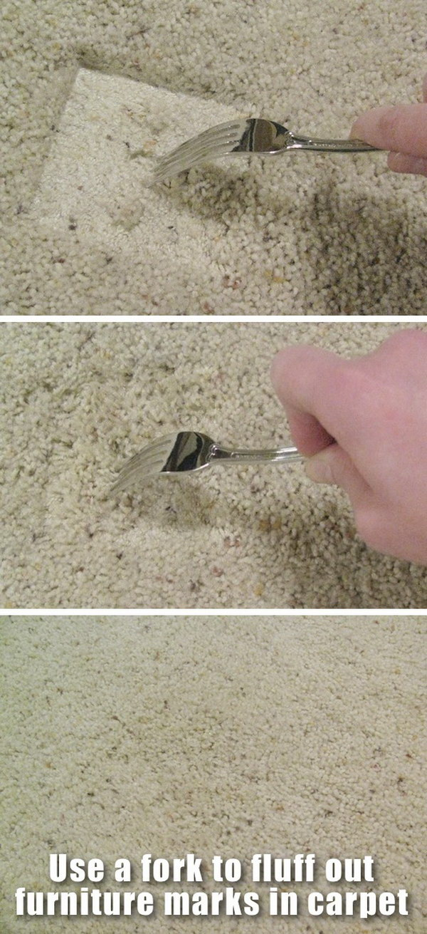 Quickly Fluff Up Furniture Marks in Carpet.