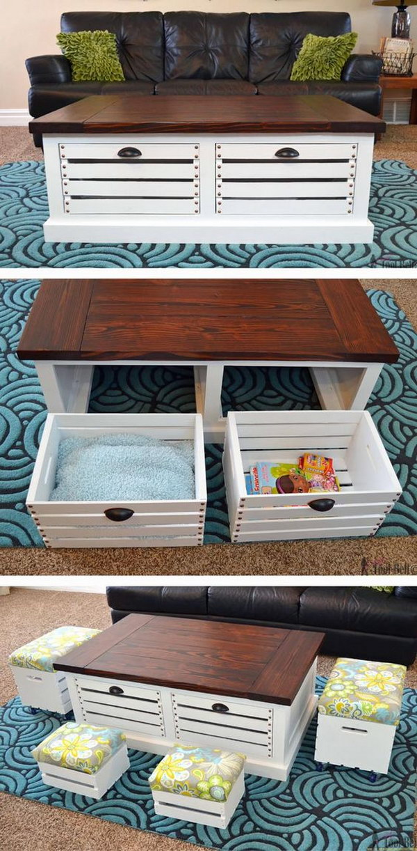 35 diy wood crate projects with lots of tutorials noted list for How to make a coffee table out of crates