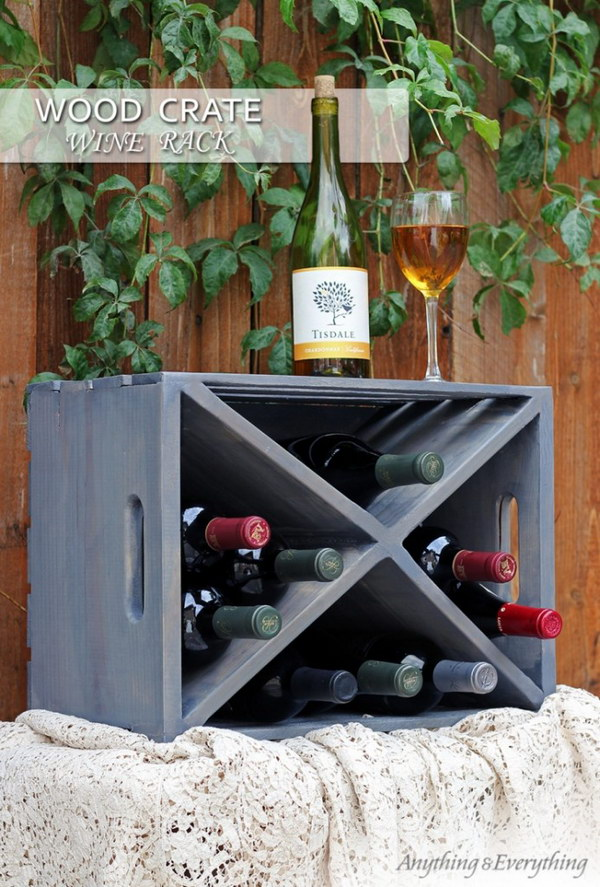 35 diy wood crate projects with lots of tutorials noted list for Crate wine rack diy