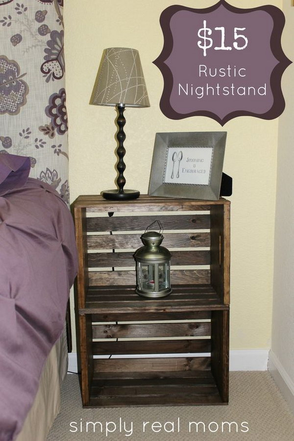 DIY Rustic Crate Nightstand for $15 or Less