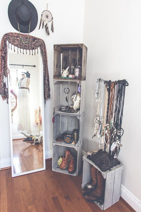 Bohemian Dressing Room with DIY Crate Shelves