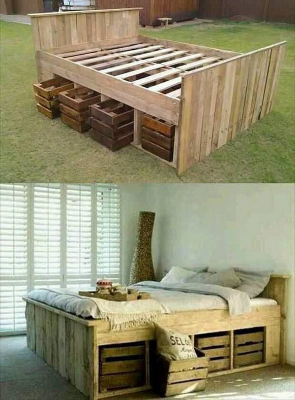 DIY Pallet Bed with Crates under That Can Pull out