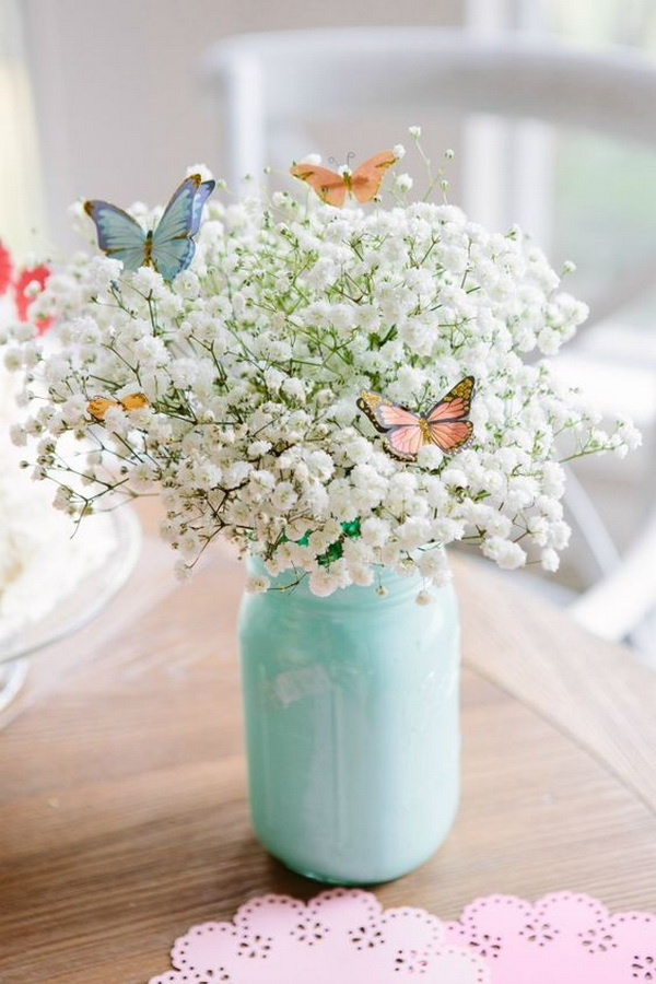 Beautiful Butterfly Bouquet Made out of a $3 Bunch of Baby's Breath and Butterfly Stickers.