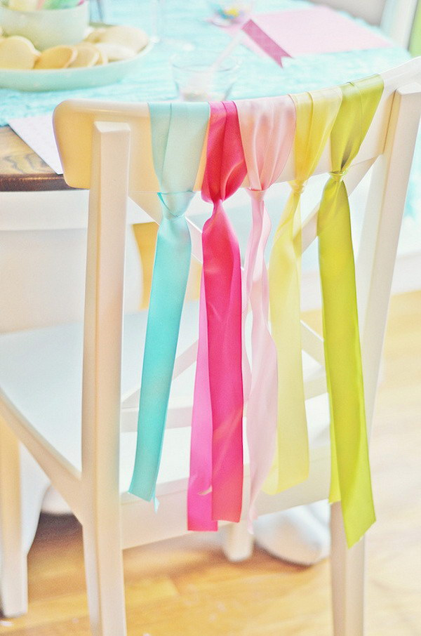 Dining Room Chairs Decoration with Ribbons.