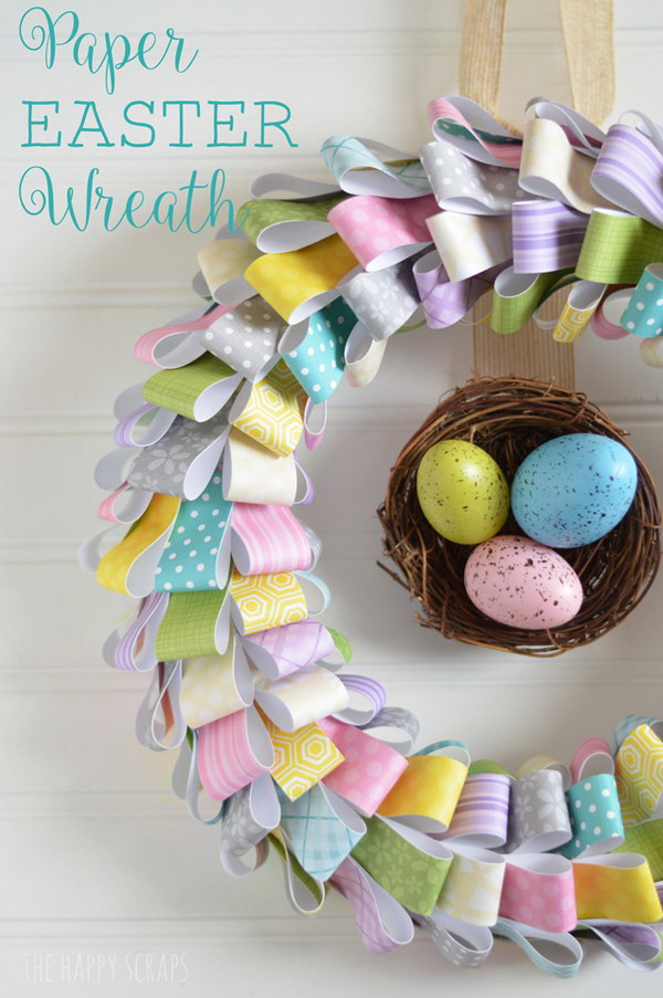 Paper Easter Wreath.