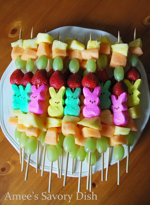 A fun and fast dessert idea for Easter, Peep Fruit Kabobs.