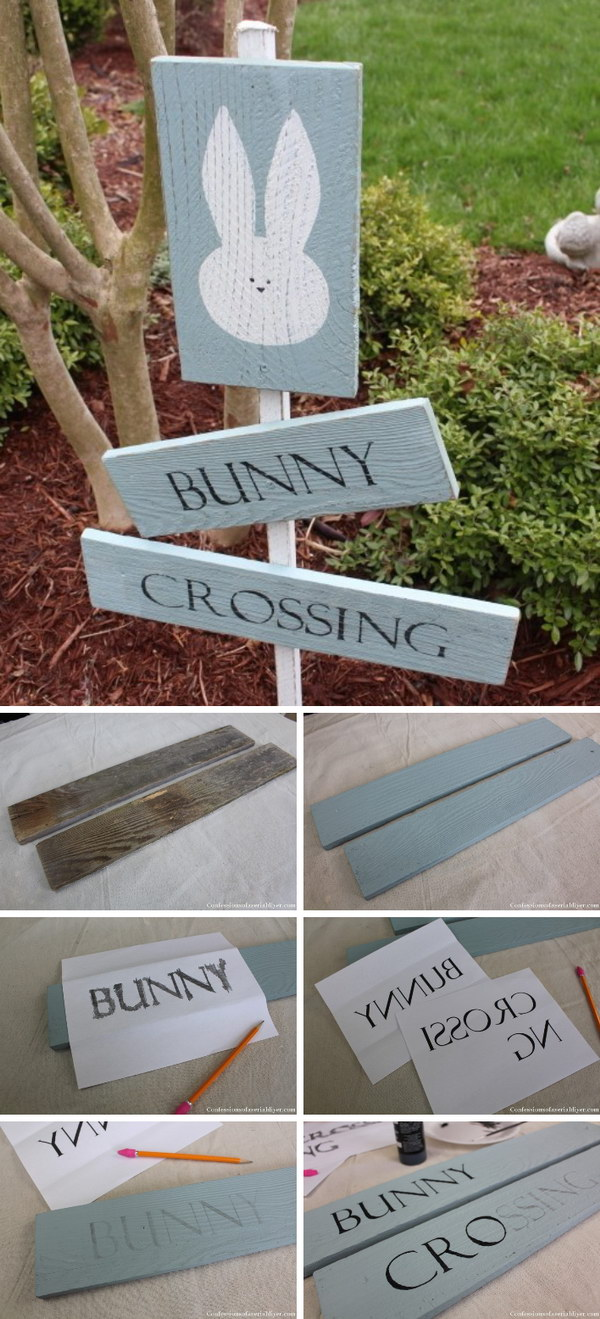 Bunny Crossing Sign from Fence Pickets.
