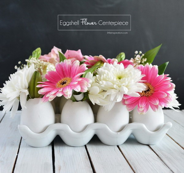 DIY Eggshell Flower Centerpiece.