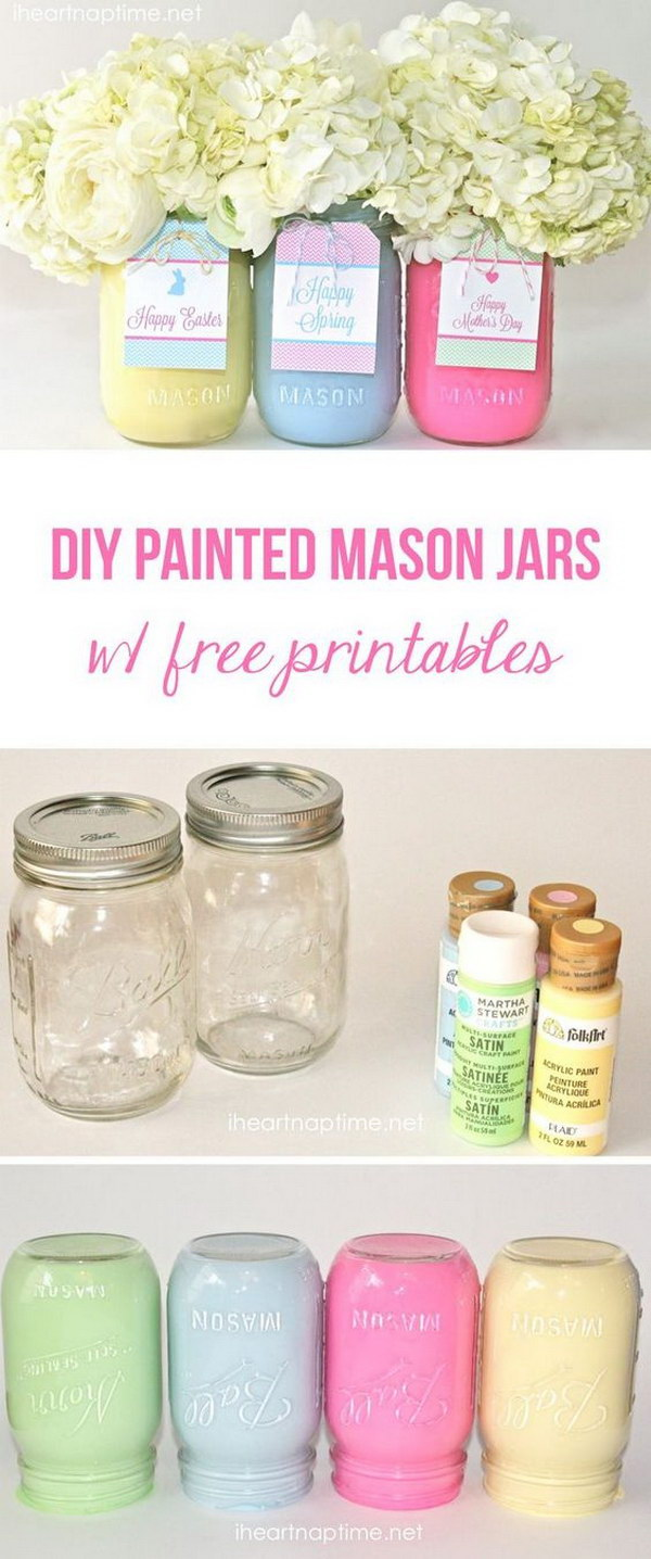 DIY Spring or Easter Mason Jars.