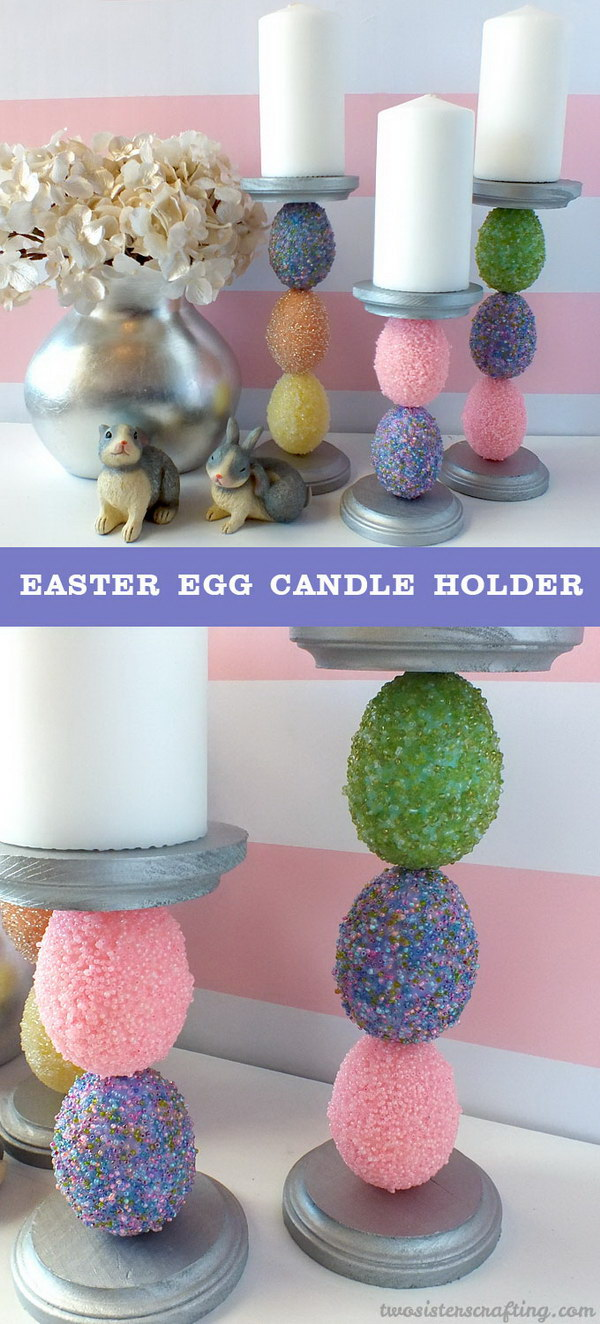 Beaded Easter Egg Candle Holders.