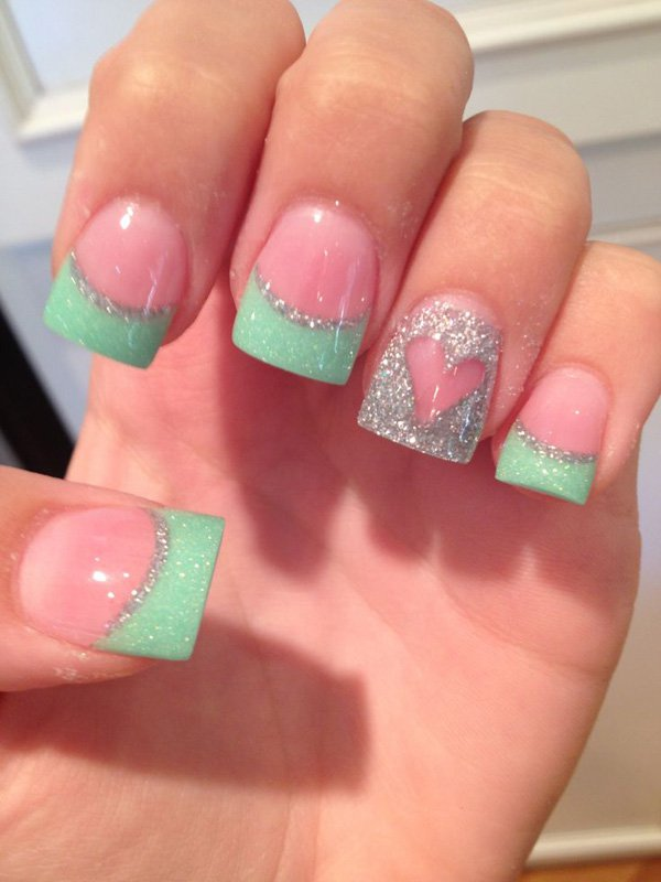 Pretty Teal and Silver Heart Acrylic Nail Art Design