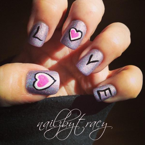Shimmery Purple Love Nail Art