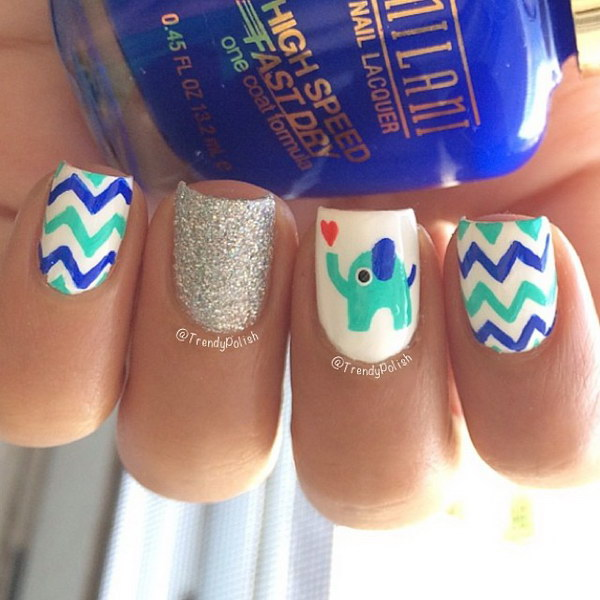 Cute Chevron Nail Art Design with Elephant and a Little Heart