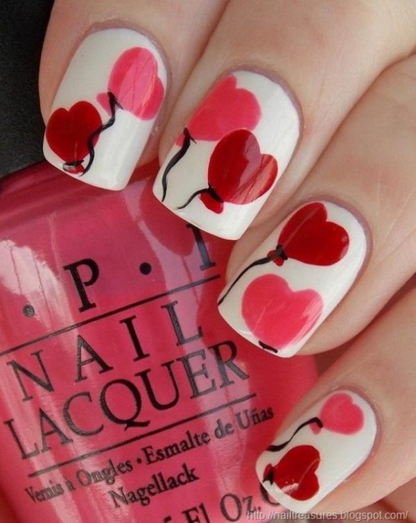 Cute Heart Balloons Nail Art Design