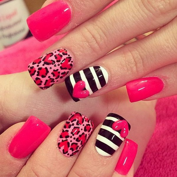 Stylish Animal Print Love Nail Art Design
