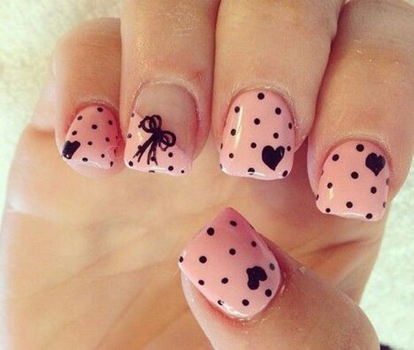 Cute Heart, Bow and Polka Dots Nails