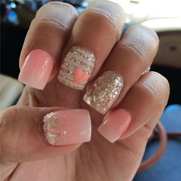 Nice Light Ombre Paired with Sparkle and a Little Heart Nail Art