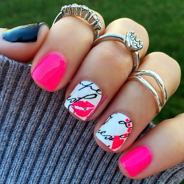 Pink Love Nail Art Design for Valentine's Day
