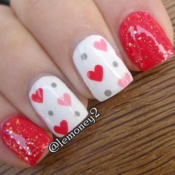 Easy Cute Hearts and Polka Dots Nail Art for Valentine