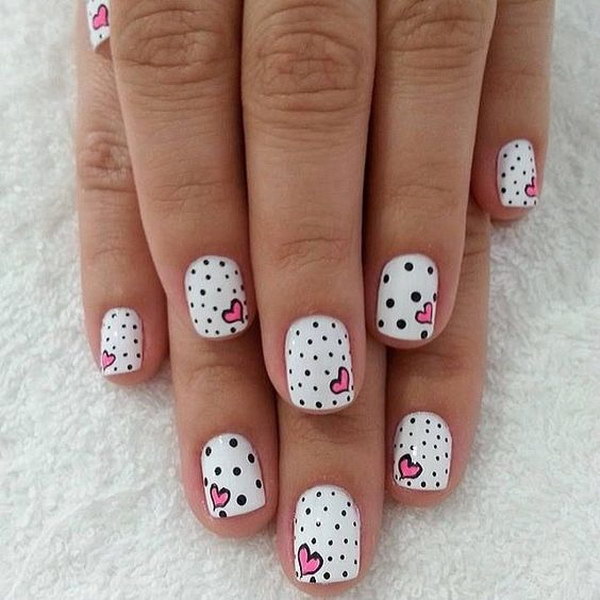 Simple Polka Dots and Hearts Nail Art
