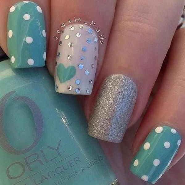 Green and Silver Polka Dots with Heart Nail Art