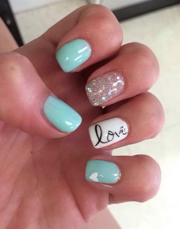 Tiffany Blue and Glitter Love and Heart Nail Art Desgins