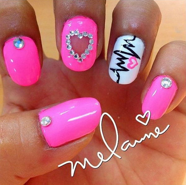 Heart Beat with Heart shape and Stud Nails