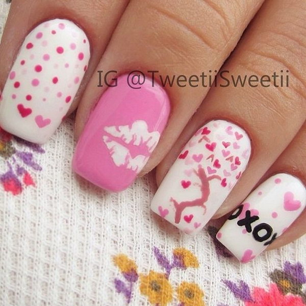 Tree with Heart Shape Leaves Nail Art