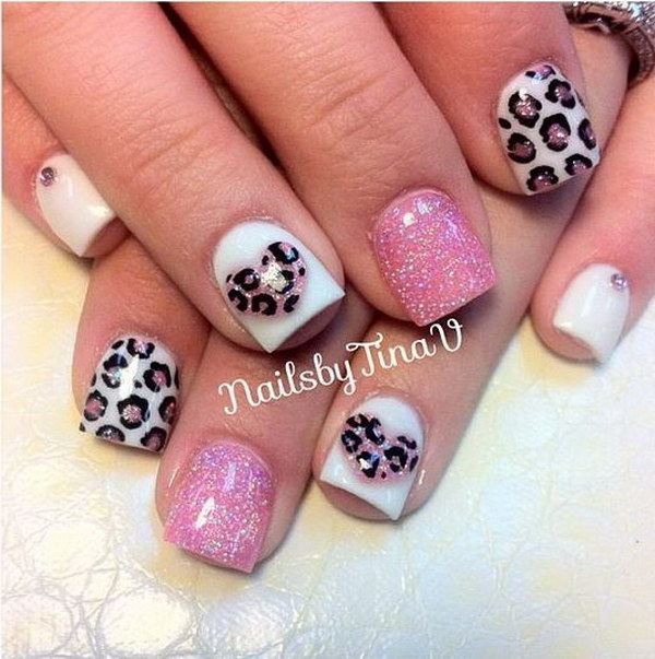 Valentine's Day Nail Design Cheetah Love