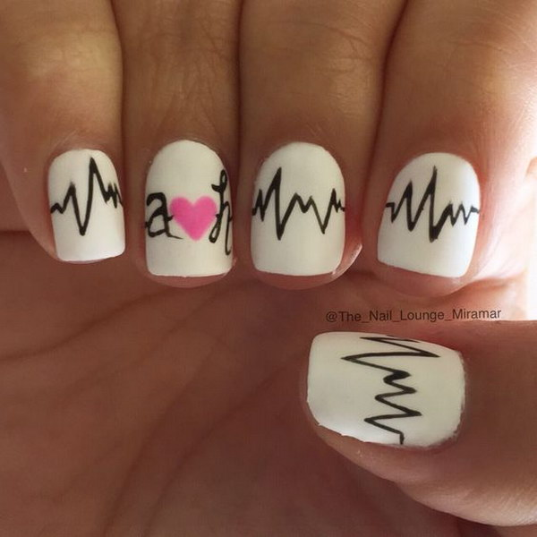 Simple and Cute Heart Beats Nail Art Design