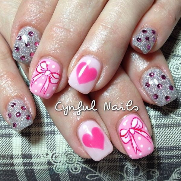 Valentine's Day Rhinestones, Bow, and Hearts Nail Art Design