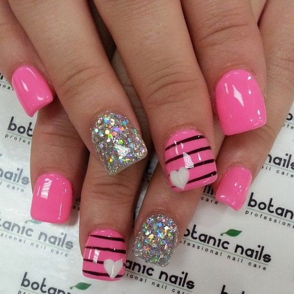 Pink and Glitter Stripes with Heart Nail Art Designs
