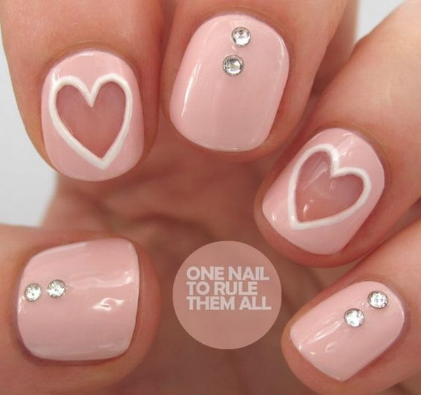 Negative Space Heart Nail Art Design