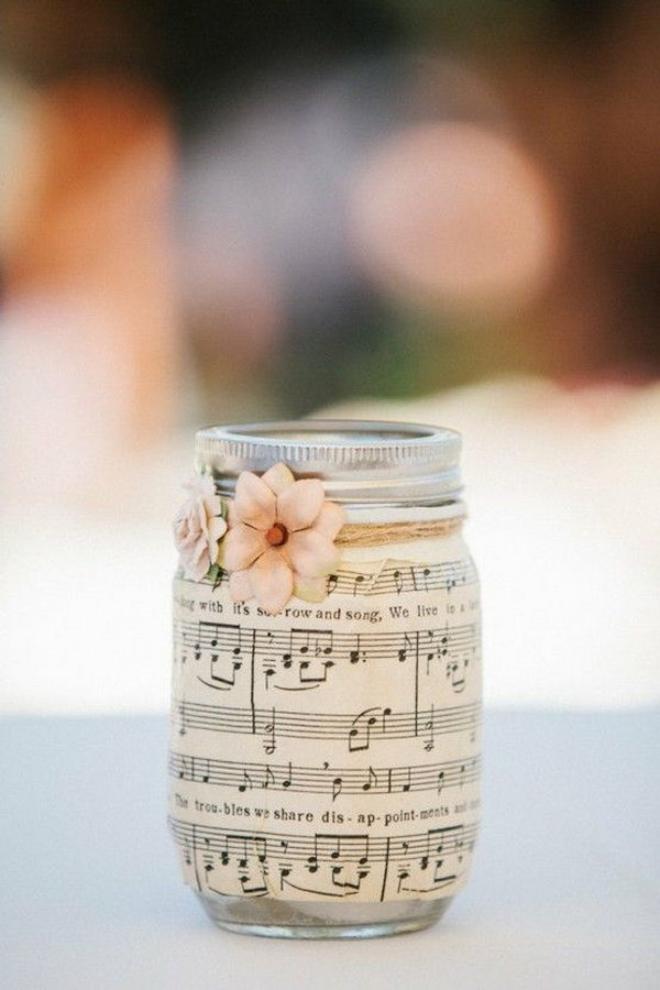 Romantic Music Sheet Covered Mason Jar